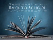 Back to school. Open a book for imagination of world wide and  knowledge . with word back to school Stock Photo