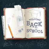 Back to School open book. Open book with text back to school vector royalty free illustration