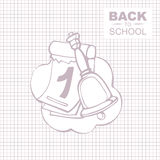 Back to school. Outline background picture for notepad with place for your text. Hend bell witih calendar Stock Image