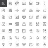 Back to school outline icons set. Linear style symbols collection, line signs pack. vector graphics. Set includes icons as Ruler, Testing, Art, Chalkboard stock illustration