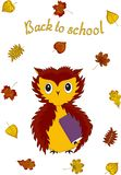 Back to school. Owl with a textbook under the wing and autumn leaves. Vector. royalty free illustration