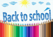 Back to school. The palette of pencils, notebooks in a cage, clouds and sun Royalty Free Stock Images
