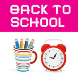 Back to School Paper Title with Alarm Clock Stock Image