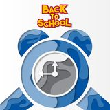 Back to school papercut background. Alarm clock blue 3D cool style stock illustration