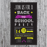 Back to school party invitation. Stock Image