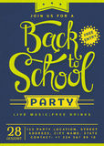 Back to School party invitation. Flyer with hand lettering header. Vector template royalty free illustration
