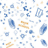 Back to school. Pattern on the topic of education with drawings of school supplies. Flat  illustration EPS 10 Stock Image