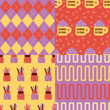 Back to school patterns. Collection of 4 school themed retro seamless patterns royalty free illustration