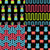 Back to school patterns. Collection of 4 school themed retro seamless patterns stock illustration