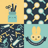Back to school patterns and posters. Collection of 2 school themed retro seamless patterns and 2 School themed posters with cute characters, one of them reads stock illustration