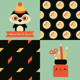 Back to school patterns and posters. Collection of 2 school themed retro seamless patterns and 2 School themed posters with cute characters, one of them reads vector illustration