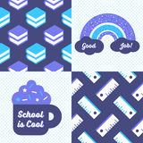 Back to school patterns and posters. Collection of 2 school themed retro seamless patterns and 2 School themed posters, one reads School is Cool and the other royalty free illustration