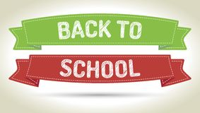 Back to school. Pen style text on colorized ribbons with shadow Stock Photos