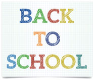 Back to school. Pen style text on exercise book paper Stock Photo