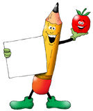 Back To School Pencil. Cartoon of a Back To School Pencil with an Apple holding a blank sign Stock Photography