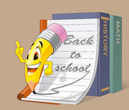 Back to school. Pencil character is going back to school Stock Images
