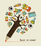 Back to School pencil tree Royalty Free Stock Photos