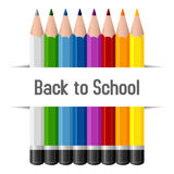 Back To School Pencils Background. Back to school background with colorful pencils on white background. Eps file available Royalty Free Stock Photo