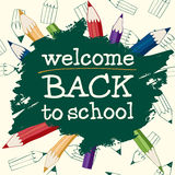 Back to School with pencils. Back to School Calligraphic Designs with colored  pencils On Chalkboard. EPS 8 Royalty Free Stock Photography