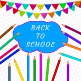 Back to school with pensils and colorful flags vector illustration