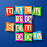 Back to School phrase compiled with wooden alphabet blocks Royalty Free Stock Photos