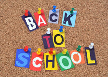 Back to school. Pinned to cork board Stock Photo