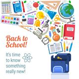 Back to school placard with flying objects royalty free stock image