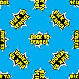Back to school pop art seamless pattern. Cartoon vector background Royalty Free Stock Photos