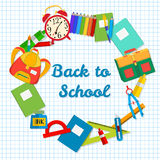 Back to School postcard. Frame from school objects. Office supplies on the background of a sheet of notebook. Royalty Free Stock Photos
