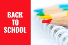 Back to school, postcard with pencils. And notebook stock photo