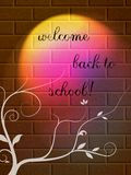 Back to school poster. Abstract lightened wall made by bricks with back to school theme Stock Photos