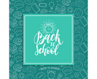 Back To School poster with alarm clock drawing. Vector hand lettering in frame. Children education background. Royalty Free Stock Image