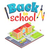 Back to School Poster with School Area Isolated 3D Royalty Free Stock Images