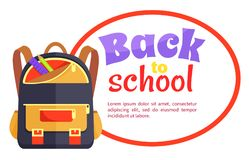 Back to School Poster with Backpack for Child Icon Stock Photos