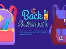 Back to School Poster with Schoolchild Rucksack. Back to school poster with backpack for child with school stationery accessories pencils and ruler in back Royalty Free Stock Photography