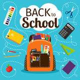 Back to school poster with backpack Stock Photos