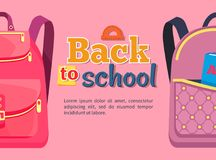 Back to School Poster with Backpacks for Children Stock Photos