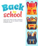 Back to School Poster with Backpacks and Pockets Royalty Free Stock Photos