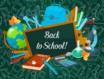 Back to School vector chalkboard pattern poster. Back to School poster of school bag and lesson stationery chalk pattern on green chalkboard. Vector book or Royalty Free Stock Image