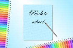 Back to school, poster, banner with colored pencils and notebook.  royalty free illustration