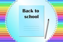 Back to school, poster, banner with colored pencils and notebook.  stock illustration