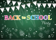 Back to school  of poster and banner and  green background for  education party Royalty Free Stock Images