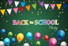 Back to school  of poster and banner and  green background for  education party Stock Image