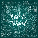 Back to school poster on the chalkboard Stock Images