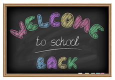 Back to school poster. Chalkboard effect. Royalty Free Stock Photos