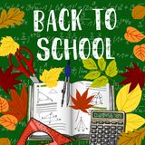 Back to School books and chalkboard vector poster. Back to School poster design of book, ruler and calculator with September autumn maple and rowan or oak leaf Royalty Free Stock Images