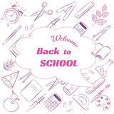 Back to school poster design with line icons template background. Vector illustration. Freehand drawing school items on a sheet of exercise book. Back to School vector illustration