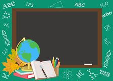 Back to school poster design with school subjects. Vector illustration stock illustration