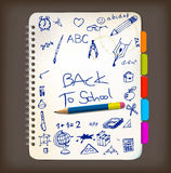 Back to school poster with doodle illustrations Royalty Free Stock Photos