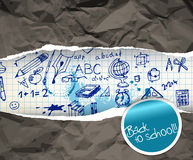 Back to school poster with doodle illustrations Royalty Free Stock Photo